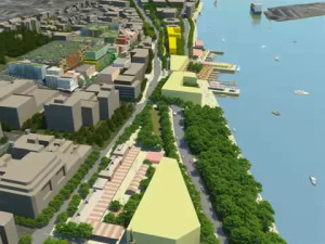 GPT's 2008 proposal showing new buildings in yellow. Foreground left is Newcastle Station.