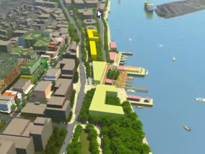 GPT's 2008 proposal showing new buildings in yellow. Closer view around Queen's Wharf.